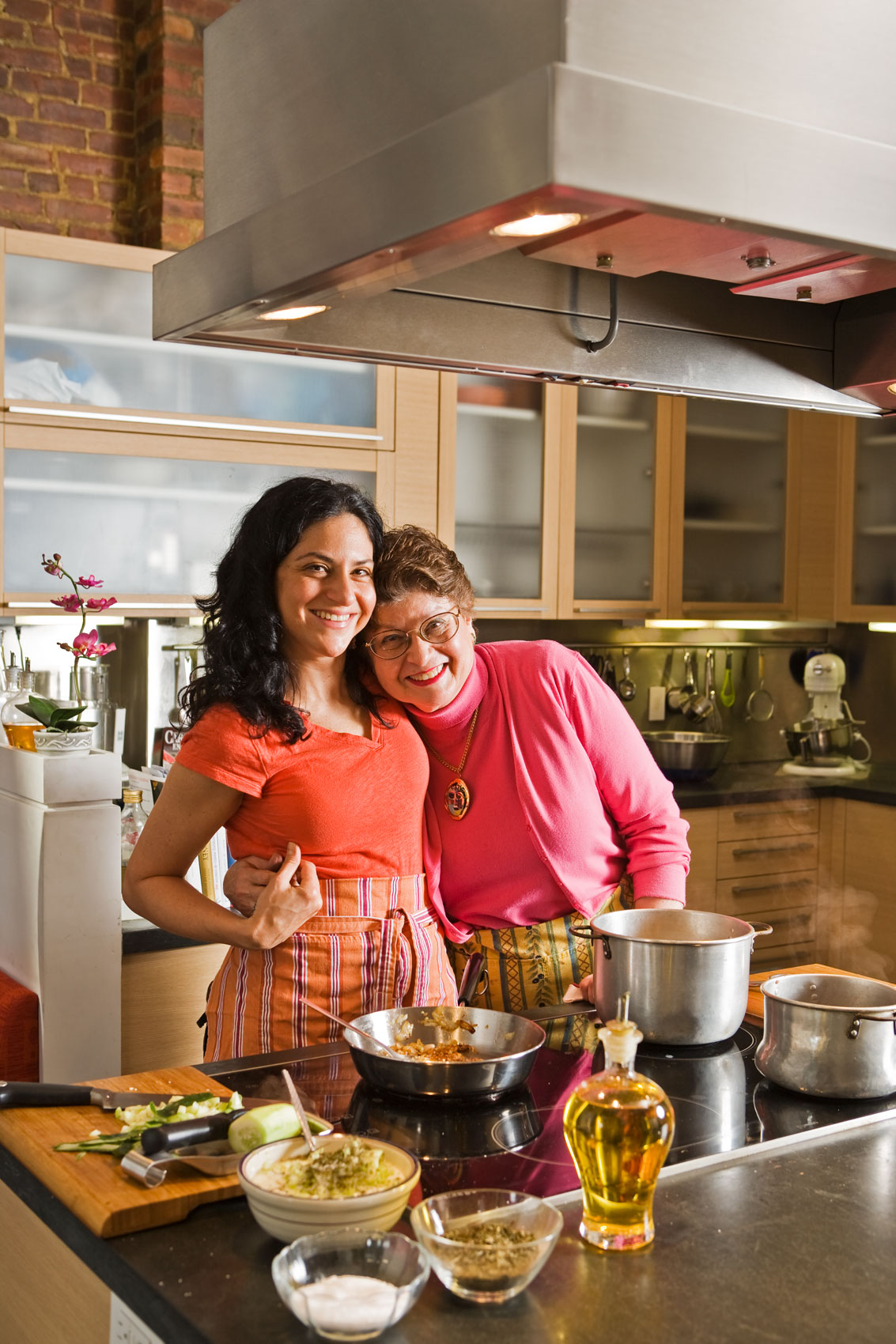 Chef Jennifer Abadi, Mother and Daughter in the Kitchen, by Portrait and Lifestyle Photographer Michael Weschler