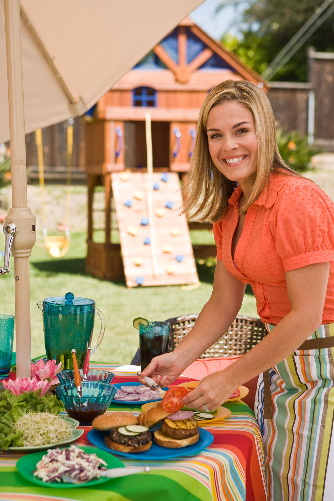 Iron Chef Cat Cora at her home in Santa Barbara by portrait and lifestyle photographer Michael Weschler