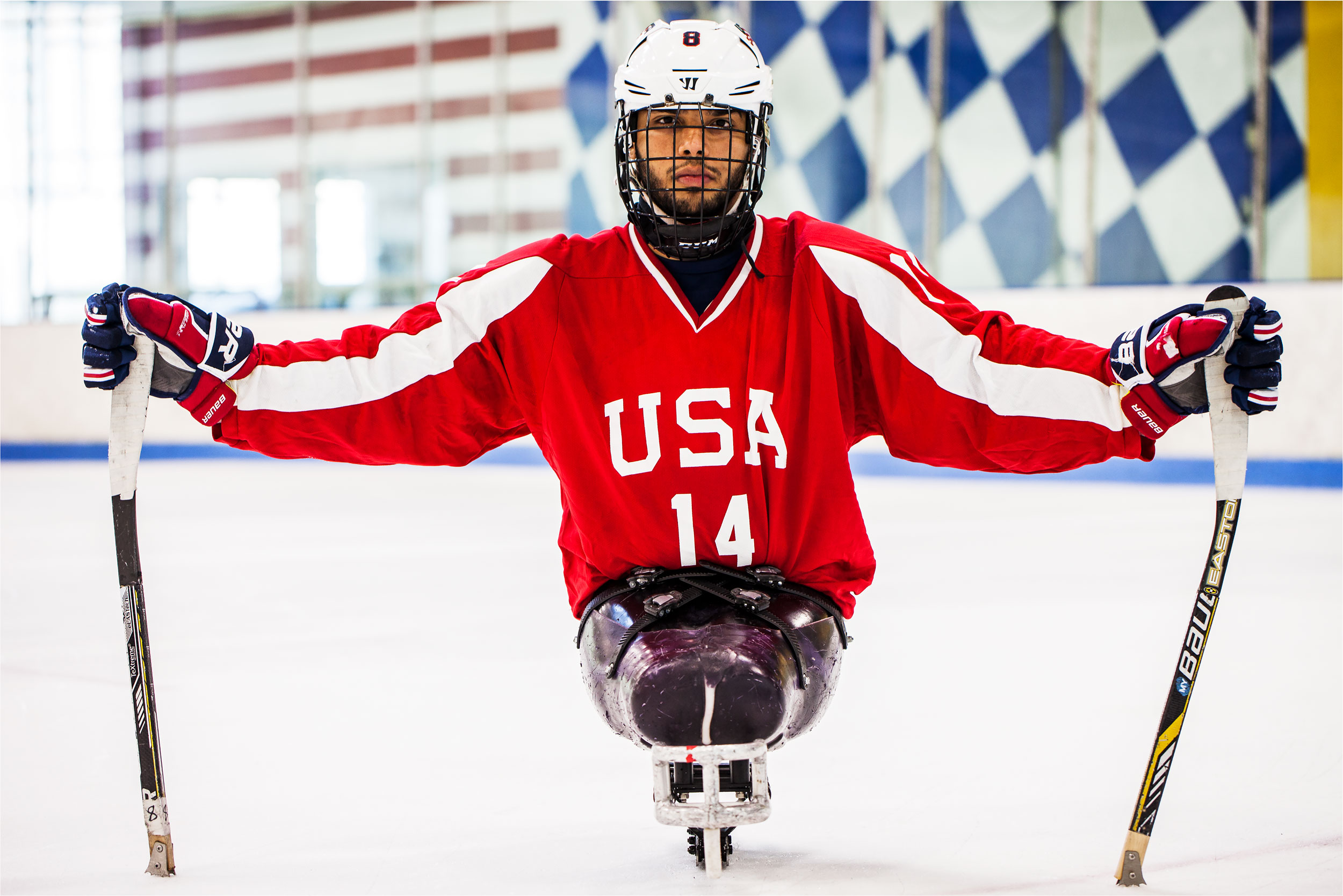 Portrait of Team USA Double-Amputee Sled-Hockey Olympic Para-Athlete Ray Diaz at Chelsea Piers, NY by Michael Weschler, photographer